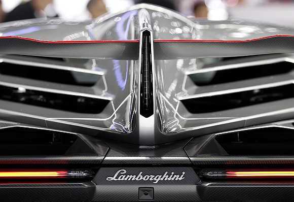 Rear view of Lamborghini Veneno at Geneva Car Show.