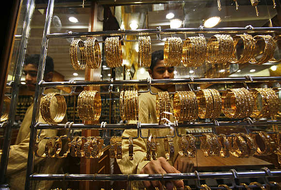 A man arranges jewellery in Mattrah Souq, the oldest market in Oman, in capital Muscat.