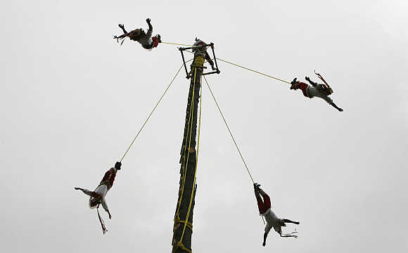 Men from Papantla, a village in Veracruz, Mexico, perform the flying rope ritual.
