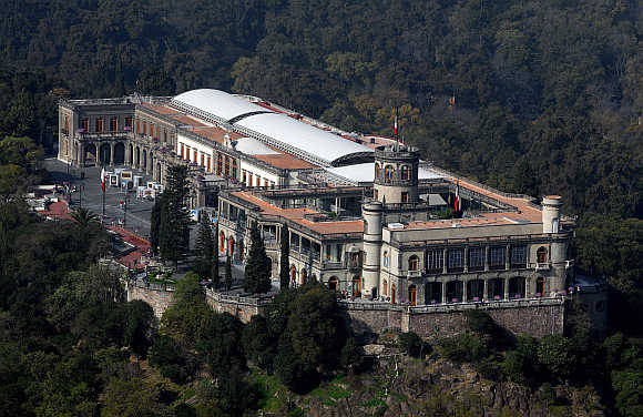 An aerial view of the Chapultepec Castle in Mexico City.