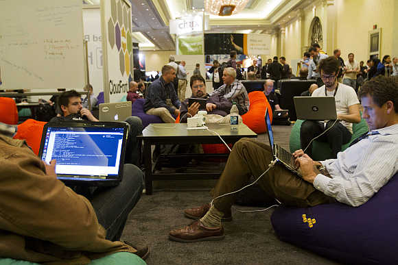 Developers and programmers participate in a coding challenge in Las Vegas, Nevada, United States.