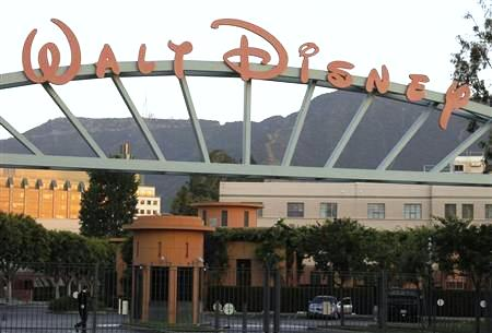 A portion of the signage at the main gate of The Walt Disney Co. is pictured in Burbank, California.