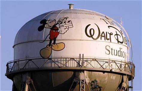 A view of the water tower at The Walt Disney Co., featuring the character Mickey Mouse.