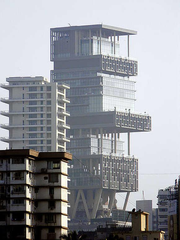 Mukesh Ambani's residence, Antilla, in Mumbai.