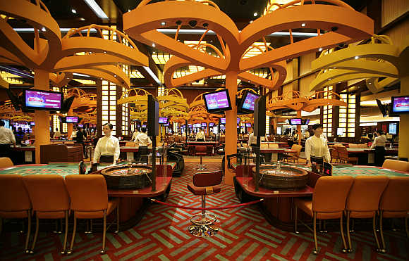 A view inside the Resorts World Sentosa casino on Singapore's Sentosa Island.
