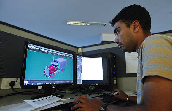 A game artist sits at his workstation on the floor of Dhruva Interactive's offices in Bangalore.