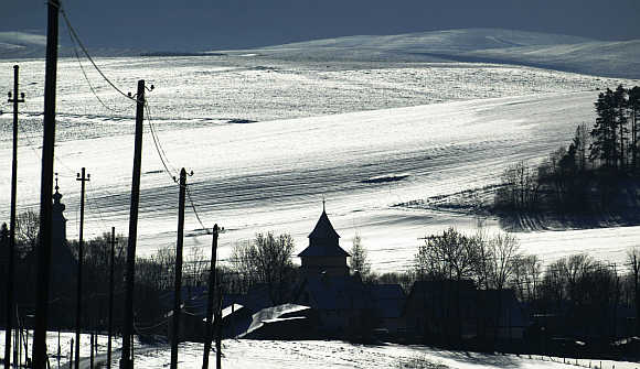 A view of Strane pod Tatrami village from the Roma settlement below the Tatra mountains in Slovakia.