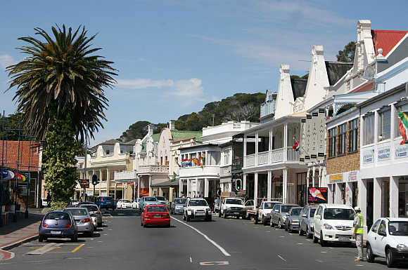 A view of Saint Georges street in Simon's Town, a suburb of Cape Town.