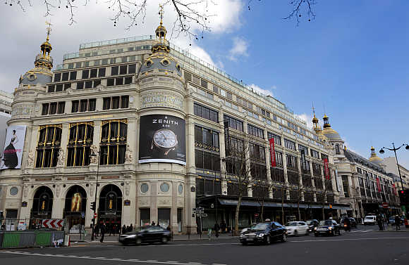 A view of Printemps department store in Paris, France.