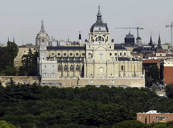 A view of Almudena Cathedral in Madrid, Spain.