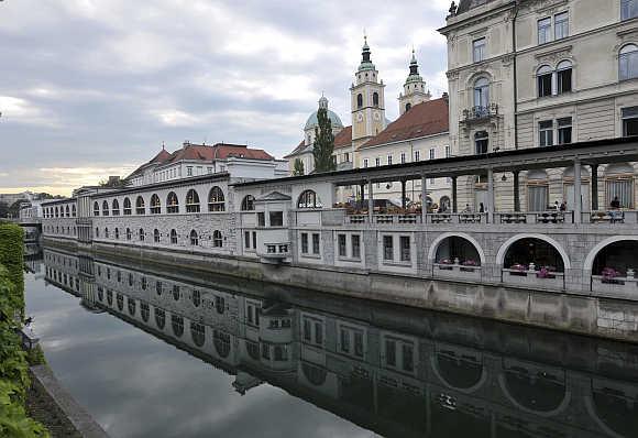 A view shows the Ljubljanica river, in the old part of Ljubljana, Slovenia.