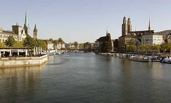 A view shows the city of Zurich and the Limmat River.