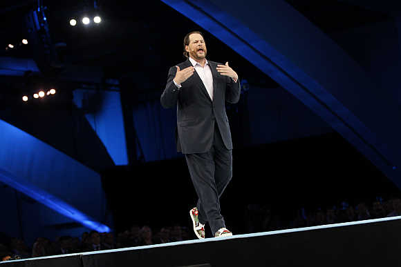 Salesforce CEO Marc Benioff at a Dreamforce event in San Francisco, California.