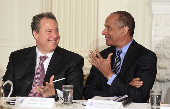 American Express Chairman and CEO Ken Chenault, right, with Chairman and CEO for UBS Group Americas Robert Wolf, left, in Washington, DC.