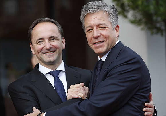 Co-CEOs Bill McDermott, right, and Jim Hagemann Snabe, left, of software giant SAP in Mannheim, Germany.