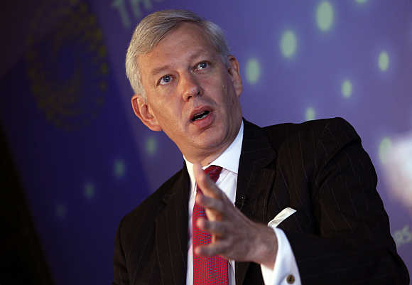 Dominic Barton at the Thomson Reuters building in New York.