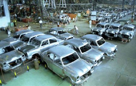 File photo of Hindustan Motors' Ambassador cars at the assembly line in Uttarpara, near Kolkata.
