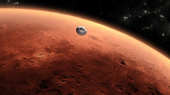 An artist's concept of Nasa's Mars Science Laboratory spacecraft approaching Mars.