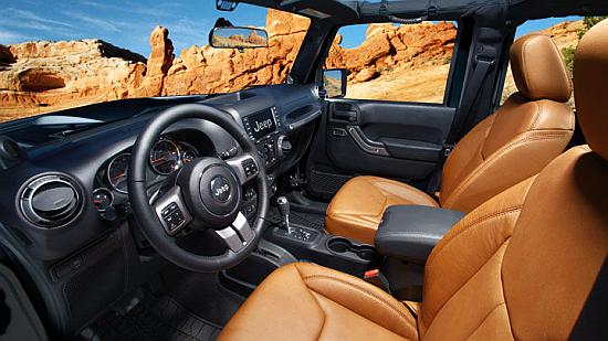 Interior of Jeep Wrangler.