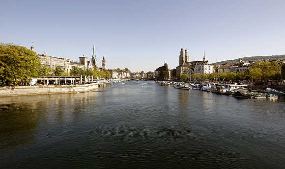 A view of Zurich and the Limmat River in Switzerland.