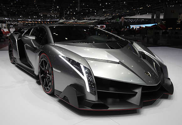 Lamborghini's Veneno in Geneva, Switzerland.