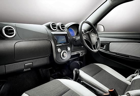 Interior of Mahindra Reva e2o.