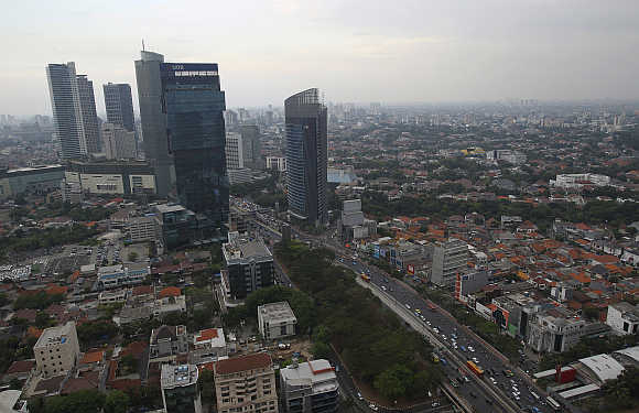 An aerial view of capital Jakarta in Indonesia.