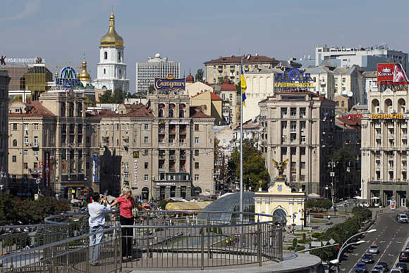 A view of the Independence Square in central Kiev, Ukraine.