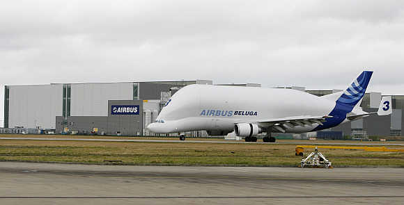 A Beluga transport plane belonging to Airbus arrives at the company's Broughton site in North Wales, Great Britain.