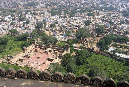 Aerial view of Gwalior city.