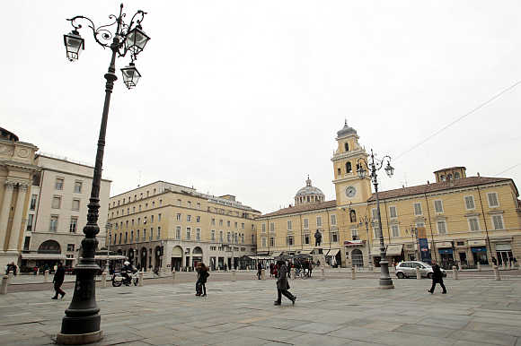 A view of Garibaldi's square in downtown Parma, northern Italy.