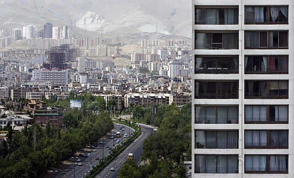 A view of buildings in north western Tehran, Iran.