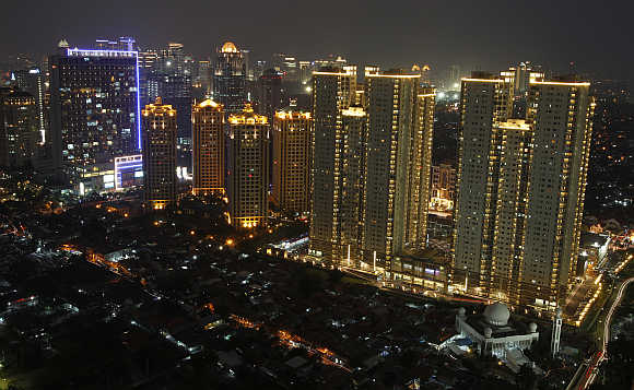 An aerial view of Indonesia's capital city of Jakarta.