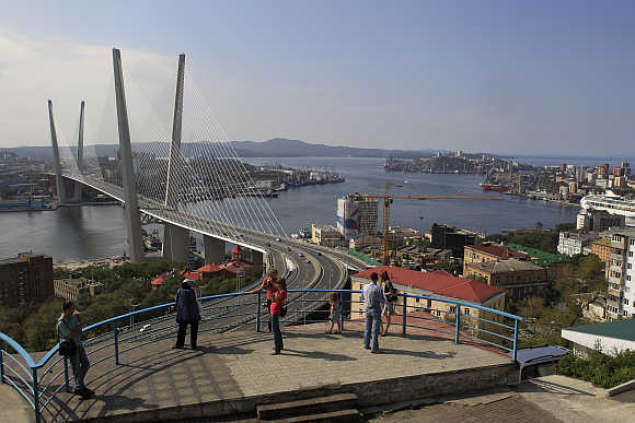 A view of a bridge over the Golden Horn bay in the Russian far-eastern city of Vladivostok.