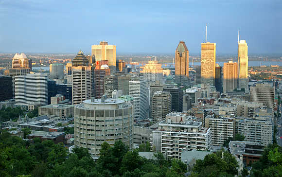 A view of the Montreal skyline from Mont-Royal mountain in Canada.
