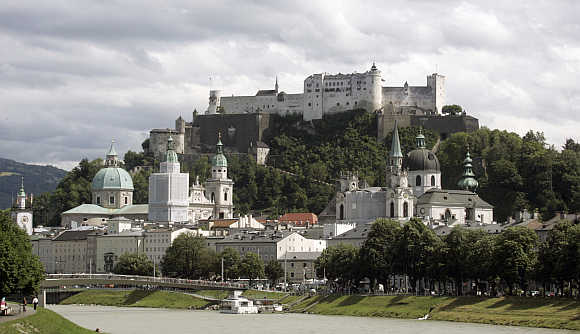 A view of a castle in Salzburg, Austria.
