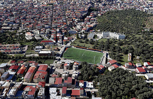 A view of a football stadium in the southern Italian region of Calabria.