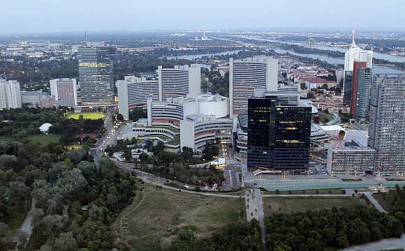 A view of Vienna International Center and UN headquarters in Vienna, Austria.