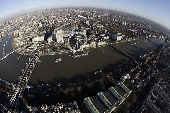 An aerial view of London, United Kingdom.