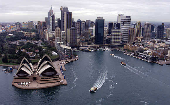 An aerial view of Sydney's Opera House and Circular Quay in the city's central business district, Australia.