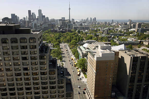 A view of the Toronto skyline in Canada.