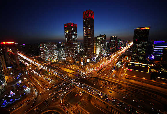 A view of the city skyline from the Zhongfu Building at night in Beijing, China.