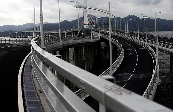 A view of Shenzhen Bay Bridge, or the Hong Kong-Shenzhen Western Corridor, in Shenzhen, China.