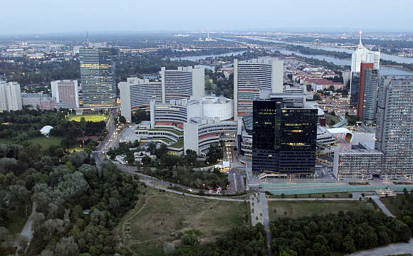 A view of Vienna International Center and UN headquarters in Vienna, Austria.