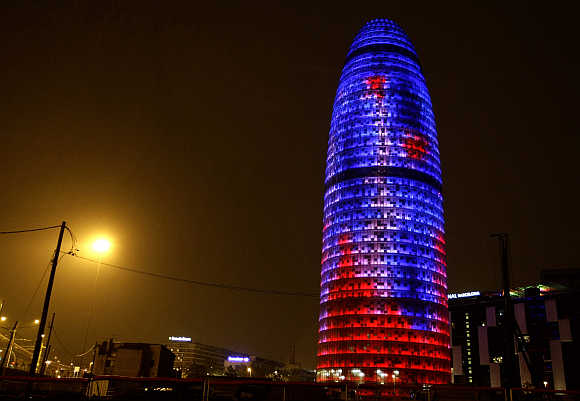 Agbar Tower in Barcelona, Spain.