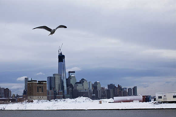 The skyline of New York's Lower Manhattan and One World Trade Center in United States.