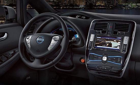 Interior of Nissan Leaf.