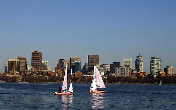 A view of the Charles River in front of the Boston skyline in Cambridge, Massachusetts, United States.