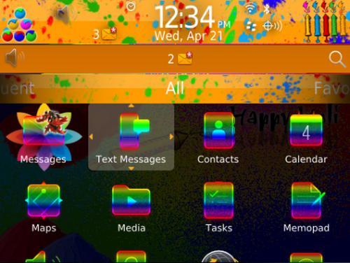 Screenshot of Happy Holi Theme.