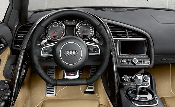 Interior of Audi R8 Spyder.